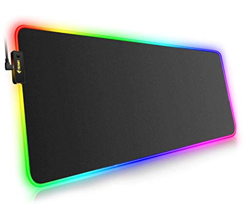 RGB Gaming Mouse Pad Large (800×300×4mm) Hcman XXL Extended Led Mousepad with Non-Slip Rubber Base, Soft Computer Keyboard Pad,for MacBook, PC, Laptop, Desk - Black