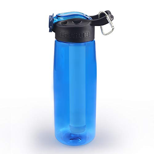 SimPure Water Filter Bottle, Emergency Water Purifierwith 4-Stage Integrated Filter Straw for Travel, Camping, Hiking, Backpacking, BPA Free