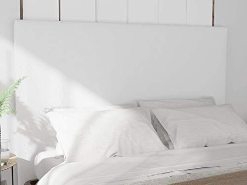 LA WEB DEL COLCHON - Cabecero tapizado Paros para Cama de 150 (160 x 120 cms) Blanco Polipiel | Cama Juvenil | Cama Matrimonio | Cabezal Cama |