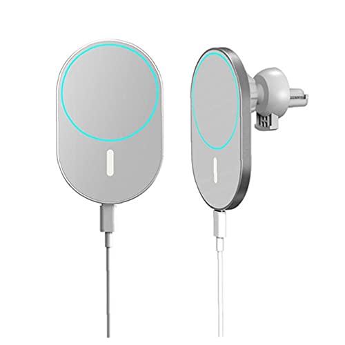 FeelMeet Coche del Montaje del Cargador del teléfono del sostenedor de Carga X19 Hilos Blanco magnético Compatible con iPhone 12 Mini Pro