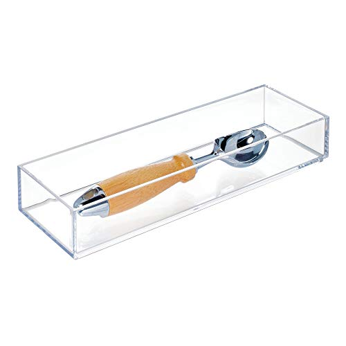 """iDesign Clarity Plastic Drawer Organizer, Storage Container for Silverware, Utensils, Kitchen Gadgets in Pantry, Cabinets, Countertops, 4"""" x 12"""" x 2"""" - Clear"""