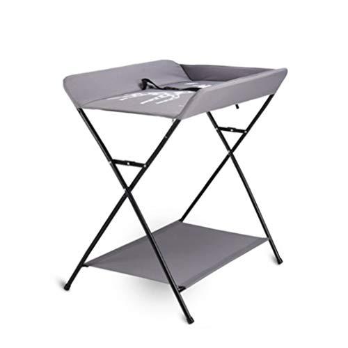 Tables à langer Portable, Pliant Bébé Couche-Culotte Table Station De Soins avec Le Fond du Plateau, Leg Cross Style Gris