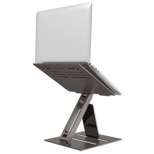 Supporto PC Portatile Alluminio,Klearlook Multi-Angolo Multi-Altezza Regolabile Supporto Laptop,Riser Laptop Braccio Singolo Pieghevole PC Stand,Ventilato Supporto per 10-17' Notebook Tablet,Bronzo