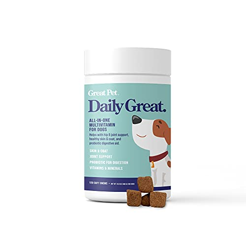 Daily Great Multivitamins for Dogs - Dog Vitamins & Supplements  Glucoasmine  Chondrotin  Omega 3 & Probiotics for Healthy Hip & Joint  Skin & Coat  Heart & Digestion - 120 Natural Multi Vitamin Chews