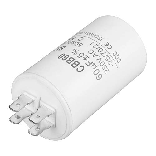 BiuZi Condensator, 1 stuks, CBB60 AC 250 V 60 uF 50/60 Hz wasmachine condensator motor condensator kunststof cilinder in de vorm van een wasmachine condensator waterpomp