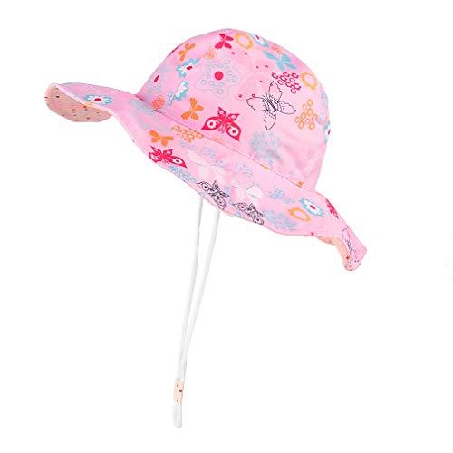GEMVIE Sombrero Playa Bebe ala Ancha Protege Sol Verano Niña Gorra Viaje/Aire Libre,Estampado Floral Pescador Sombrero (Rosa Floral, 1-2años)