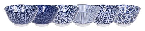 TOKYO design studio Nippon Blue Set de 6 Bols Bleu-Blanc, Ø 12 cm, env. 300 ML, Porcelaine Asiatique, Design Japonais avec Motifs géométriques
