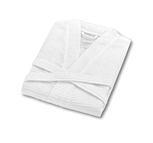 Waffle Dressing Gown Lightweight Kimono Housecoat Bathrobe Soft Egyptian Cotton Men Women (White)