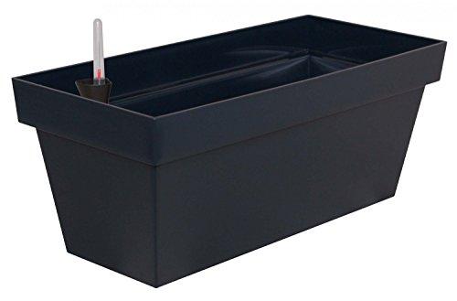 Elegantes Pflanzgefäß Cube Case aus Kunststoff mit Bewässerungseinsatz, Farbe:anthrazit;Länge:40 cm
