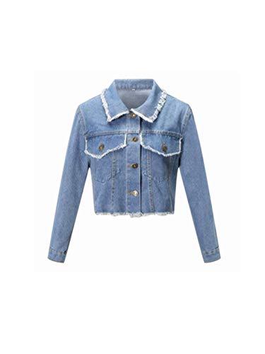 Lulupi Damen Jeansjacke Cropped Denim Jacke Boyfriend Jeans Jacket Kurzjacke Übergangsjacke Langarm Knopf Bluse Top