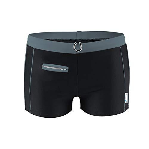 STANTEKS Herrenbadehosen mit Reißverschlusstasche Badeshorts für Männer Schwimmhose (grau, S)