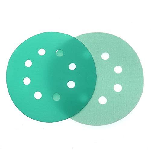 1Pcs 5-INCH 8-Hole 125MM Water Wet Dry Sanding Disc Hook Loop Sandpaper Round Disk Sand Sheet Green Skin Polyester Film Grinding,400 Grit