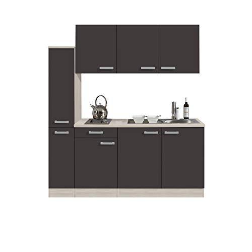 Singleküche BARCELONA - Miniküche mit Elektro-Kochfeld und Spüle - Breite 180 cm - Grau/Akazie Dekor