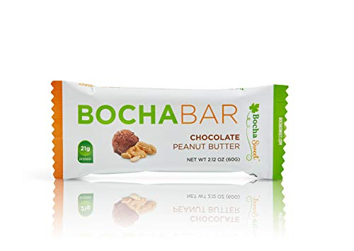 BochaSweet Protein Bar, Chocolate Peanut Butter BochaBar, 21g Grass Fed Collagen, Low...