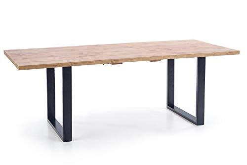 Luena - Mesa de comedor rectangular en chapa de madera Venom, extensible 135 (185) x 90 x 74 cm, patas de acero pulverizado negro