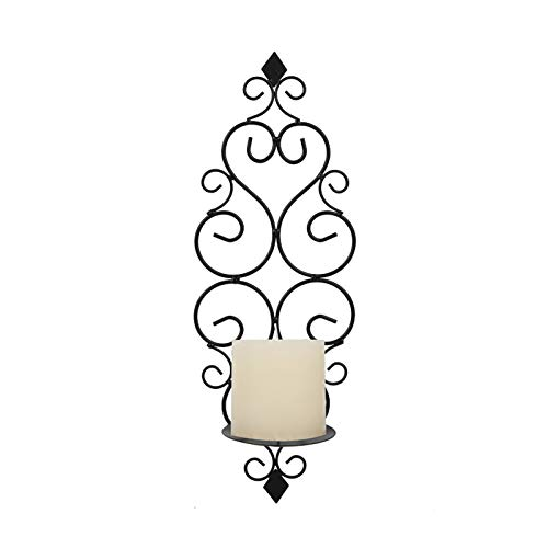 LRHD Candlestick, Iron Wall Candle Sconce Holder Hanging Wall Mounted Pillar Candle Sconces Holder, Wall Sconces Decor for Bedroom Dining Room Living Room Bathroom(Black)