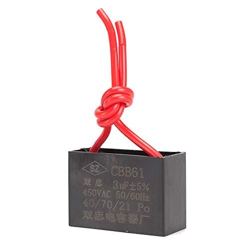 ICQUANZX Condensador de Ventilador de Techo Condensador 2 Hilos para CBB61 Condensador de Funcionamiento del Motor del Ventilador de Pared 3uF 450V 50/60 Hz Paquete de 3