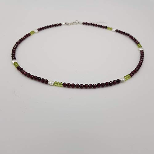 """charakterperle Design Edelsteinkette inspiriert von Alexej von Jawlensky """"Mädchen mit Pfingstrosen"""" - rot Granat grün Peridot - 46 cm Kettenlänge -..."""