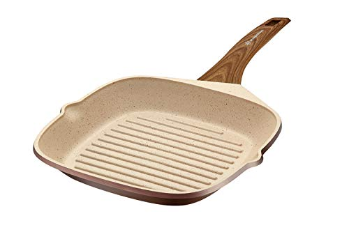 WaxonWare 11 Inch Non Stick Deep Square Grill Pan & Griddle With Marbellous (A 100% PFOA Free Coating Made In Germany)- For Steak, BBQ, Chicken, Fish, Meat