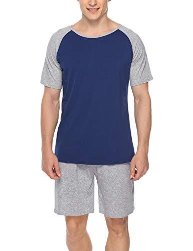 Hawiton Herren Schlafanzug Kurz Sommer Pyjama Nachtwäsche Set Kurzarm Shorty Baumwolle mit Kontrastfarbe Grau M