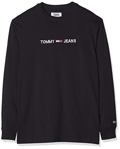 Tommy Jeans Herren TJM Longsleeve SMALL Logo Tee Sporttop, Schwarz (Tommy Black Bbu), X-Large (Herstellergröße:XL)