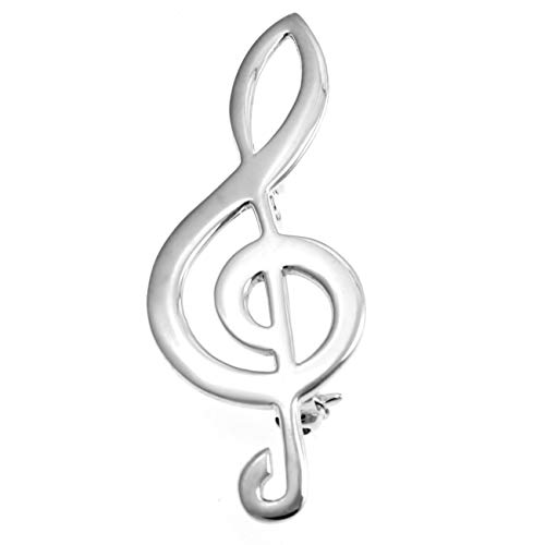 Sterling Silver Treble Clef Brooch - Musical note in a jewellery gift box