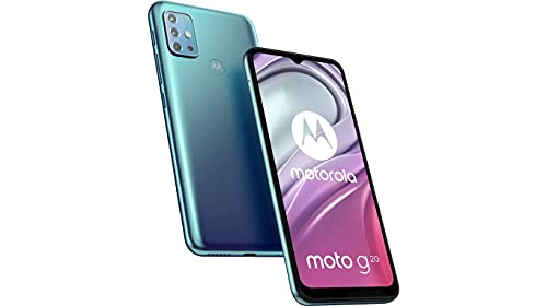 Moto G20 Azul Cielo, Smartphone de 6.5', Android 11.0 R, Equipo Desbloqueado, Cámara Trasera 48MP + 8MP (Wide) + 2MP (Macro) + 2MP (Depth)+ Cámara Frontal 13 MP