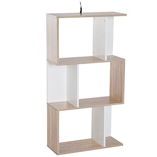 homcom Libreria di Design Scaffale Ufficio Legno Moderna 3 Ripiani 60 × 24 × 111.4cm