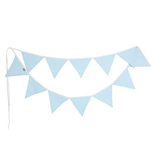 PREMYO Banderines de Tela Infantiles - Guirnaldas Decoración Habitación Bebé Niño - Triángulos Pastel Azul