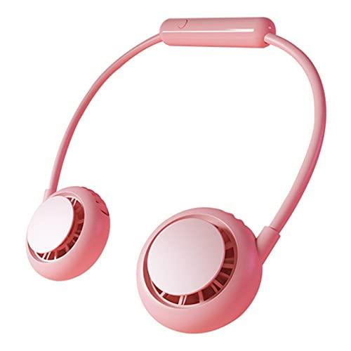 Ventilador de cuello MARSPOWER, ventilador portátil recargable, enfriador de aire USB, ventiladores deportivos silenciosos para el hogar, aire libre, verano, refrigeración por aire - Rosa 230X43X165Mm