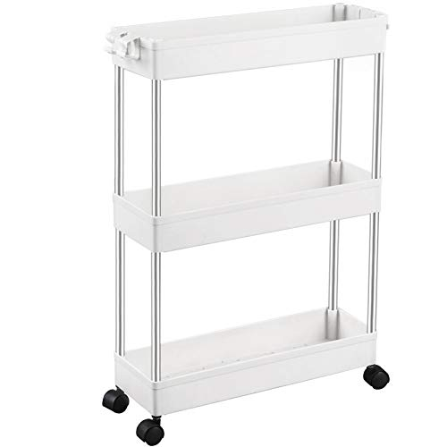 SPACEKEEPER Storage Trolley 3-Tier Slim Storage Cart Slide Out Rolling Utility Cart Mobile Shelving Unit Trolley Organizer Cart for Kitchen Bathroom Laundry Office, Plastic & Stainless Steel, White