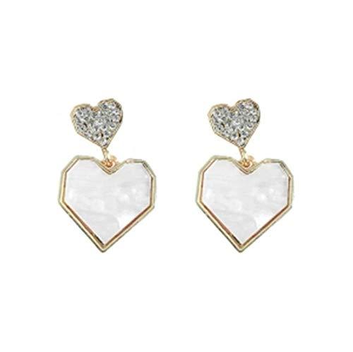 Yhhzw Pendientes De Botón De Corazón Blanco Para Mujer, Joyería De Estilo Elegante, Pendientes De Diamantes De Imitación, Accesorios Para Mujer