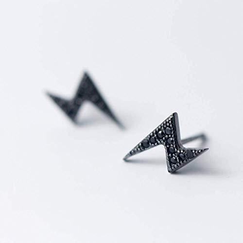 S925 zilveren oorbellen dames persoonlijkheid zwarte diamant bliksem oorbellen getij mannen en vrouwen oorbellen oorsieraden, S925 zilver paar, 925 zilver, EEH A ZILVER
