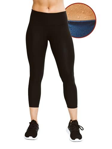 Sweat Shaper Women s Sauna Leggings Compression High Waist Yoga Pants Thermo Sweat Capris (Black, X-Large)