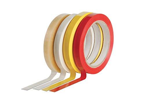 Cinta adhesiva para selladora de bolsas, formato mm 12 x 66 metros, paquete de 24 unidades, color amarillo