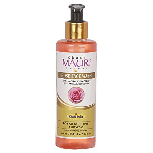 Khadi Mauri Herbal Rose Face Wash – Powerful Antioxidants to Repair Skin Damage, Gentle Cleanser to fight Acne & Spots – 210 ML