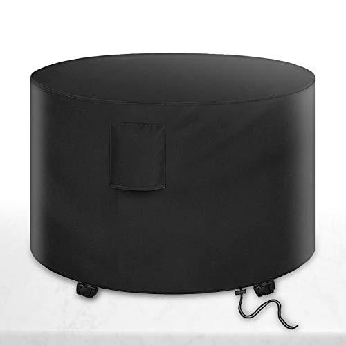 Alfheim Funda para Muebles de Jardín con Salidas de Aire, Cubierta Protectora para Mesa de Comedor Redonda, Impermeable a Prueba de Viento Tejido Oxford 600D, Al Aire Libre (Ø128 x 71cm) - Negro