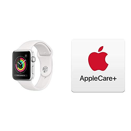 AppleWatch Series3 (GPS), 42mm Aluminiumgehäuse, Silber, mit Sportarmband, Weiß mit AppleCare+