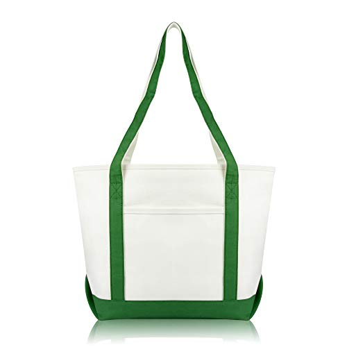 DALIX Daily Shoulder Tote Bag Premium Cotton in Dark Green