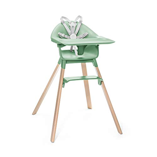 STOKKE® Clikk™ - Trona de madera con arnés y bandeja │ Silla de bebé para comer con asiento y reposapiés ajustables │ Portátil │ color: Green