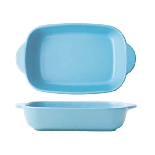 UPKOCH Ceramics Rectangular Dish Baking Dishes Baking Pan Bakeware with Handle for Oven (Blue)