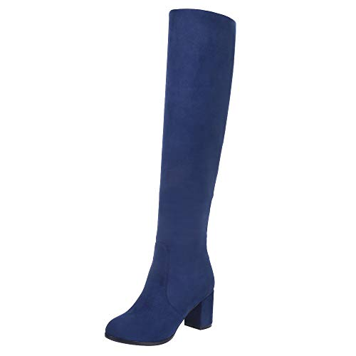 VulusValas Mujer Fashion Tacon Alto Rodilla Botas Blue Size 38 Asian