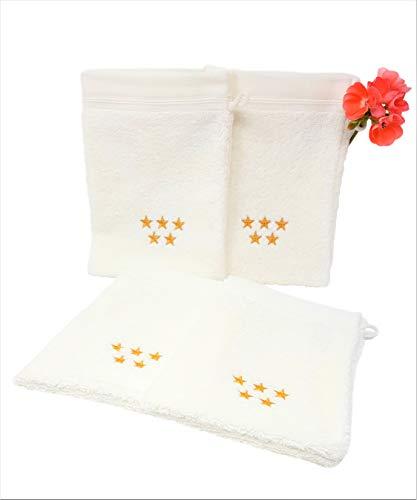 Ashkitomi 4-er Set Wellness Waschhandschuhe Hotelqualität aus Reiner Bio-Baumwolle 15x21 cm Creme-Weiss 580g/m² Schadstoff-Frei Nachhaltige Produktion in der EU