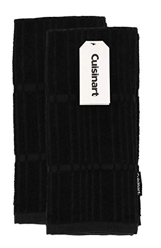 Cuisinart Bamboo Kitchen Towels, 2pk Jet Black - Soft, Absorbent, Durable Kitchen Hand Towels Set - Quick Drying Bamboo Cotton Blend Perfect for Drying Dishes or Hands, 16 x 26 Inches