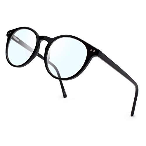 JIMMY ORANGE ブルーライトカット メガネ ボストンタイプ 丸メガネ おしゃれ PCメガネ 度なし 伊達めがね パソコン用 透明レンズ UVカット メンズ レディース 軽量(5214,ブラック)