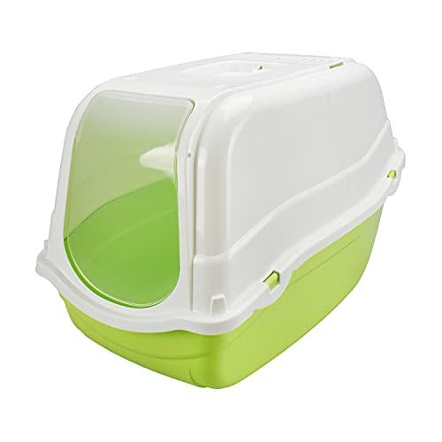 MPS LETTIERA Chiusa Romeo per Gatto Gatti Toilette IGIENICA Coperta Filtro No Odore (Verde)