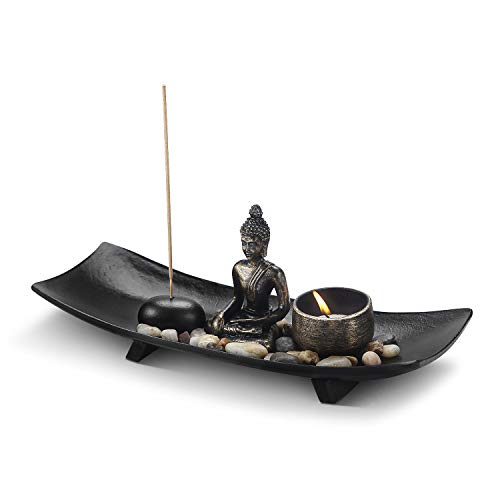 Flexzion Zen Garden, Mini Small Japanese Rock Garden Meditation Decor w/Buddha Statue Incense Holder Candle Holder Natural Polished Stones, for Peace Relaxation Office Home Desk, Bronze