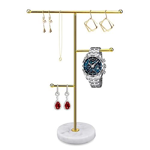 JOLIGAEA Soporte para Joyas, Organizador de Joyas, Soporte de Exhibición de Collares de Mármol, T de Metal Soporte para Collares, Pulseras, Pendientes