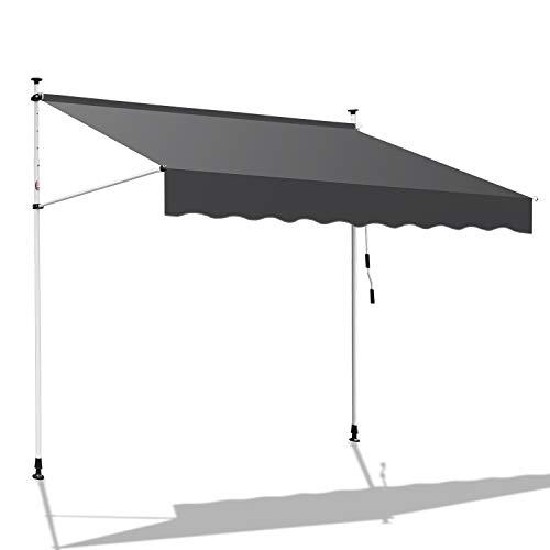 Hengda Markise Einziehbar Klemmmarkise Balkonmarkise Sonnenschutz ohne Bohren Höhenverstellbar (150 x 120 cm, Grau)