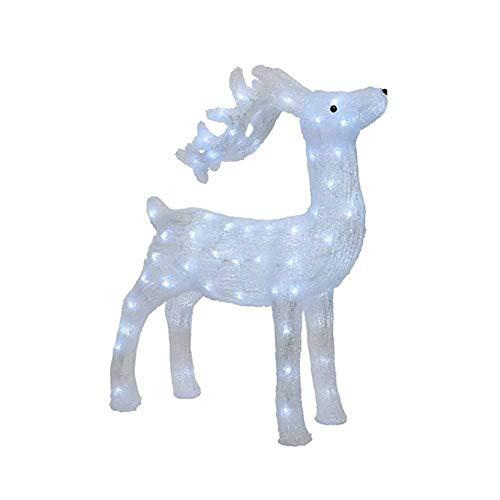 Kaemingk Figura Luminosa in Acrilico Renna LED Bianco Freddo con Flash 52x73cm 1 Pezzo